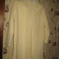 VINTAGE 70S WOMENS cream off white mohair wool sweater coat