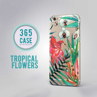 Tropical Flowers iPhone 6S Case Clear Floral Transparent Case iPhone 6 Plus Case Red Flowers iPhone 5S Case Tropical iPhone 4S Case Cover