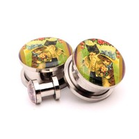 Vintage Cats Picture plugs by Mystic Metals