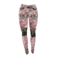 "Susan Sanders ""Blush Pink Flowers"" Floral Photography Yoga Leggings"