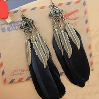 Vintage gold leaf blue feather earrings 2015fashion drop long earrings 107-13-00201 = 1945929412
