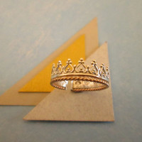 Crown Toe Ring, Knuckle Ring, Sterling Silver & Twisted 14K Gold Filled, Adjustable