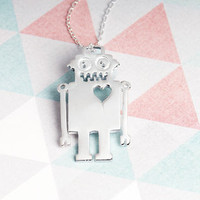Sterling Silver Robot With Cut Out Heart Necklace