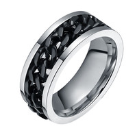 316L Stainless Steel Men Finger Ring Wide 8MM Black Rotation Spinner Chain Ring High Polished Punk Men Jewelry Gifts 2016 New