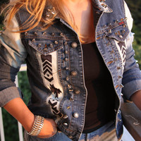 Denim super studded with hand painted Tribal/Aztec print. Size Sm/ Med.