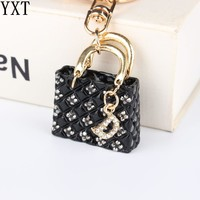 Lovely Black Handbag Pendant Charm Rhinestone Crystal Purse Bag Keyring Key Chain Accessories Wedding Party Lover Gift