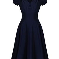 V-neck Short Sleeve Sheath Midi Skater Dress