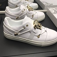 Versace Men's Leather Fashion Low Top Sneakers Shoes