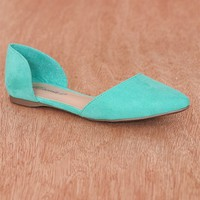 Breckelles Pop Charts Faux Leather Pointed Toe D'Orsay Flats Dolley-43 - Aqua
