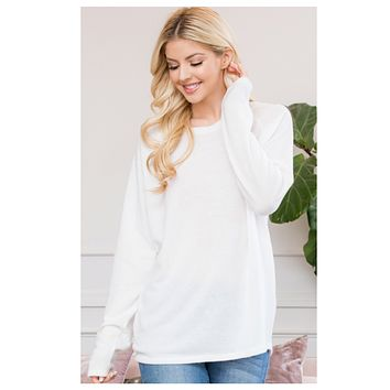Cozy Classic Long Sleeve Hacci Sweater Top-Ivory