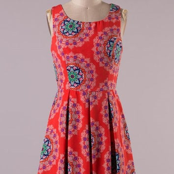Intricate Henna Dress - Red
