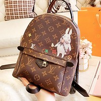 LV Louis Vuitton High Quality Woman Leather Travel Bookbag Shoulder Bag Backpack
