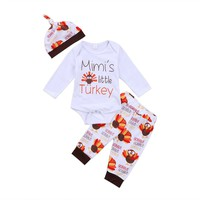 3pcs Baby Set Clothing Long Sleeve Thanksgiving Day Newborn Kid Baby Boy Girl Clothes Bodysuit Pants Outfits