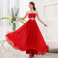 Cheap Long Chiffon Bridesmaid Dress With Crystal Under 50 2017 Strapless Party Dress For Wedding