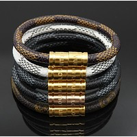 LV Louis Vuitton Stainless Steel Bracelet PU Leather Rope Woven Bracelet Accessories