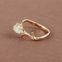 Save on this Set- Unique Branch and Natural Green Amethyst Ring and Branch Necklace
