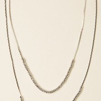 LAYERED SILVER BEADS NECKLACE