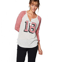 Number Printed Color Block Long Sleeve T-shirt