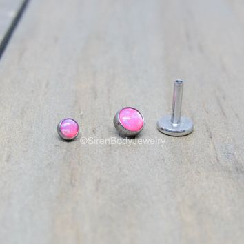 Pink opal flat back earring 16g pick your length conch earlobe lip helix piercing stud earring hypoallergenic titanium internally threaded