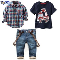 Children's clothing sets for spring Baby boy suit Long sleeve plaid shirts car printing t-shirt jeans 3pcs Suit