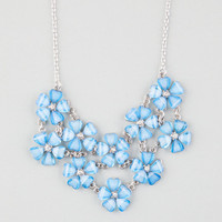Full Tilt 2 Row Frosted Flower Statement Necklace Blue One Size For Women 23230520001