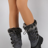 Faux fur Cuff Lace Up Mid Cuff Snow Boots