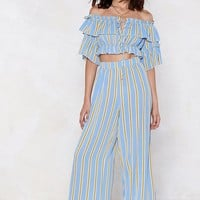 Hit the Stripe Note Crop Top and Pants Set