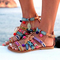 Ethnic Bohemia Flat Ankle strap Embroider Sandals