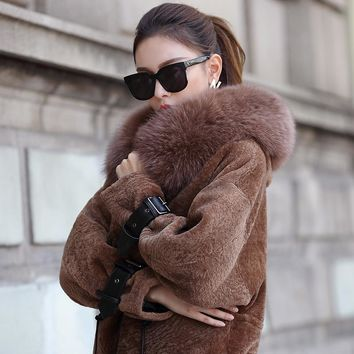 Real Sheepskin Shearling Coat for Women Genuine Leather dx0005