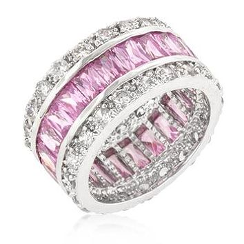 Kinsley Radiant Cut Pink Eternity Band Ring | 11ct