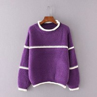 DCCK6HW Casual All-match Loose Knit Sweater