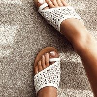 Quay Woven Slides - White - Flats by Sabo Skirt