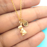 Easter, Bunny, Necklace, Cute, Rabbit, Necklace, Rabbit, Bunny, Jewelry, Initial, Bunny, Initial, Rabbit, Easter, Bunny, Gift