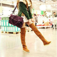 New Hot Women Sexy Over The Knee Boots 2016 Autumn Winter Ladies Chunky Heel OverKnee Boots Suede Long Thigh High Boots