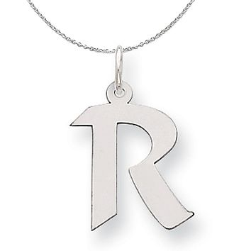 Silver Karlie Collection Artisan Block Initial Charm Letter R Necklace
