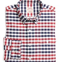 Red with Navy Check Oxford Sport Shirt - Brooks Brothers