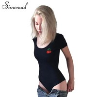 Simenual Cherry embroidery body overalls summer fitness sexy bodysuit women short sleeve black bodysuits bandage rompers womens