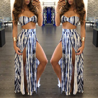 Sexy Club Maxi Dress 2017 Robe Bandage Bodycon Sleeveless Wrapped Chest Loose Two Piece Long Dress Summer Women Clothing Vestido