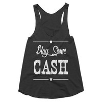 Play Some Cash racerback country music tank, Funny Tank, Yoga Shirt, Gym Shirt, Muscle, Gym Tank, Yoga Top, yoga, Johnny cash, festival