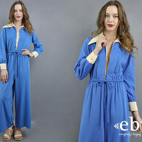 1970s Jumpsuit 70s Jumpsuit Hippie Jumpsuit Blue Jumpsuit Wide Leg Jumpsuit Hippy Jumpsuit 70s Overalls 1970s Overalls Deep V Jumpsuit M