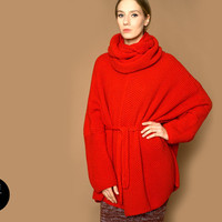 knit jacket coat red shetland wool THE KNIT KID theknitkid knitted woolen cape