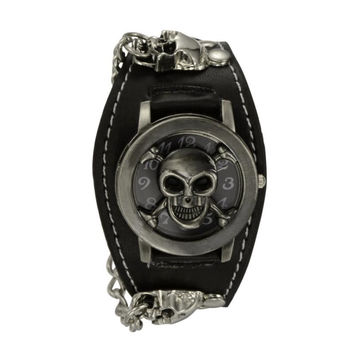 Punk Style Chain Skull Band Gothic Wrist Watch for Men Synthetic Leather Stainless Steel Sport Quartz Watches Bracelet Cuff