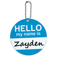 Zayden Hello My Name Is Round ID Card Luggage Tag