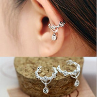 2pcs Cute Without Pierced Ear Bone Folder Punk Fashion Ear Cuff Wrap Rhinestone Cartilage Clip On Earring Non Piercing  Jewelry = 1945965956