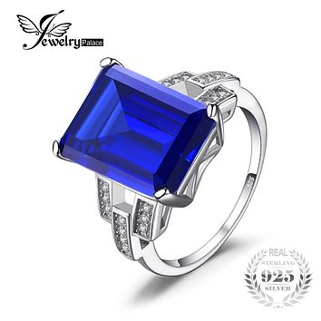 Emerald Cut 9.6 ct Blue Sapphire Cocktail Ring Genuine 925 Sterling Silver Ring