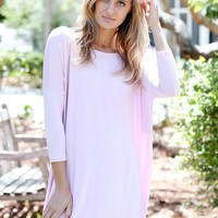Lilac Satin PIKO 3/4 Sleeve Tunic
