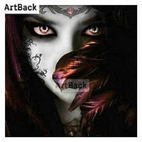5D Diamond Painting Glowing Eyes Red Feather Girl Kit