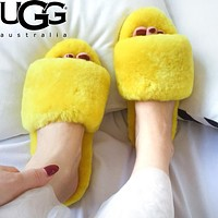 UGG Autumn Winter Fashion Women Casual Warm Wool Slippers Shoes Yellow