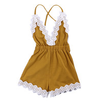 Lovely Newborn Baby Clothes 0-24M Infant Bebes Lace Romper Baby Girl Cute Sleeveless V-Neck Jumpsuit Sunsuit Outfit Kid Clothing