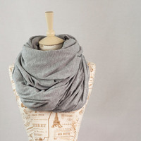 Large Chunky Infinity Scarf, Hooded Heather Grey Scarf, Extra Wide Cowl Scarf, Light Gray Circle Scarf, Jersey Circle Shawl Scarf